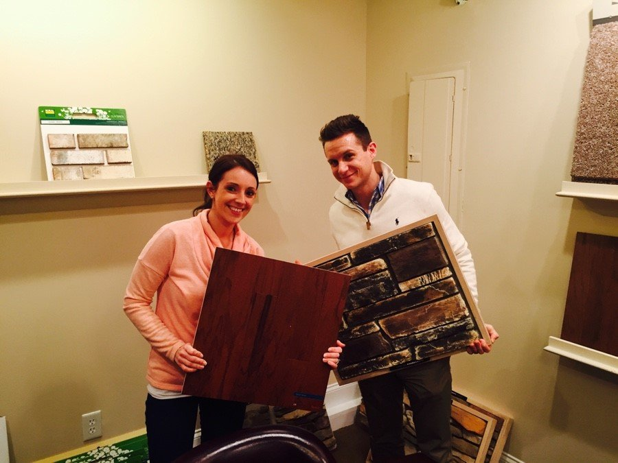 Couple picks out flooring for new home