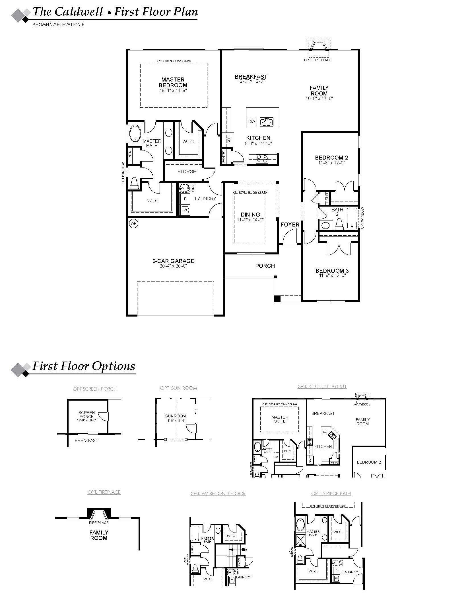 Caldwell Floor Plan Honey Meadows Eastwood Homes